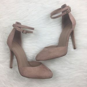 ASOS Blush Pink Suede Ankle Strap Closed Toe Heels